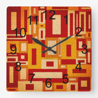 Random Geometric Retro Modern Art Wall Clock