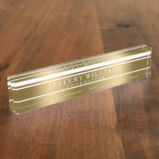 Random Gold And White Modern Stripes Name Plate