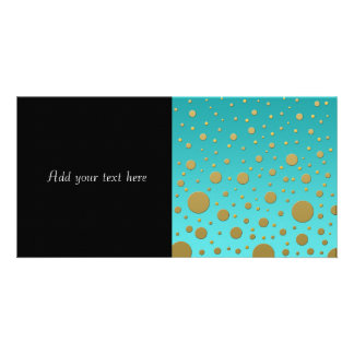 Random Gold Dots on Turquoise Modern Pattern Photo Card