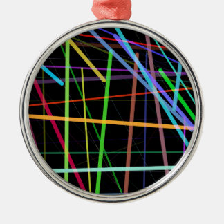 Random Lines 90's Retro Neon Metal Ornament