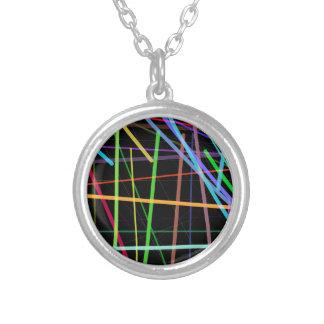 Random Lines 90's Retro Neon Silver Plated Necklace