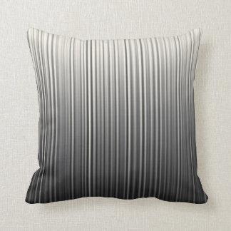 Random Pin Stripe Lines Gradient Black Grey Cream Throw Pillow