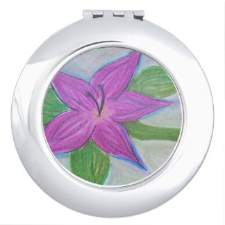 random purple flower compact mirror
