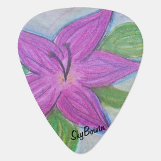 random purple flower gutiar pick