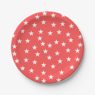 Random Red and White Star Pattern Paper Plate