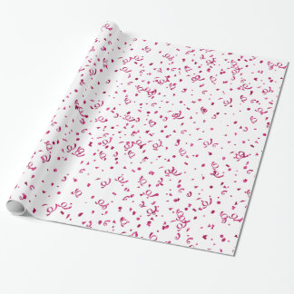 Random Scattered Pattern Metallic Fuchsia Confetti Wrapping Paper