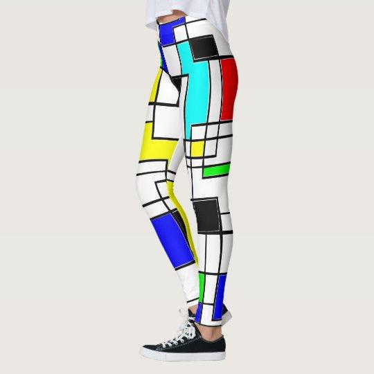 Random Squares Homage To Mondrian Leggings
