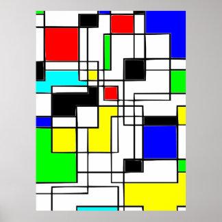 Random Squares Homage To Mondrian Poster