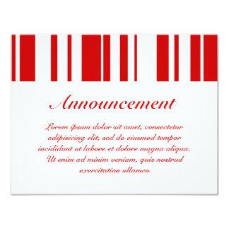 "Random Stripes Red + Custom Color 4.25"" X 5.5"" Invitation Card"