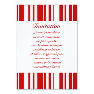 "Random Stripes Red + Custom Color 5"" X 7"" Invitation Card"