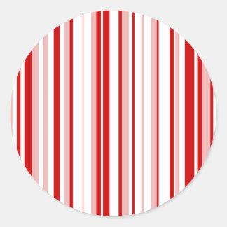 Random Stripes Red + Custom Color Classic Round Sticker