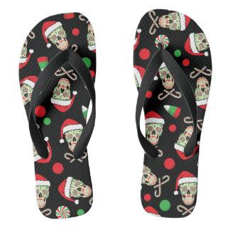 Random Sugar Skull Santa Flip Flops