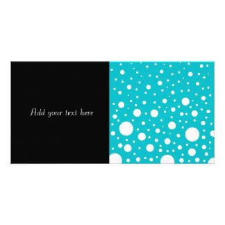 Random White Dots on Turquoise Background Photo Card