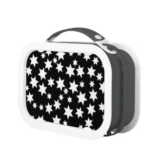 Random White Stars on Black Lunch Box