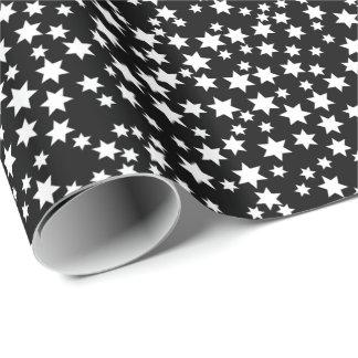 Random White Stars on Black Wrapping Paper