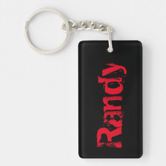 Randy Name Distressed Keychain - Black/Red