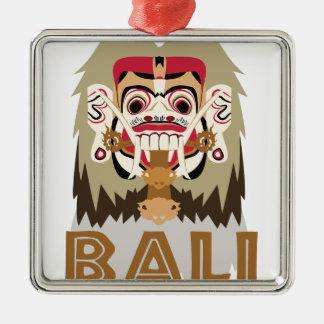 Rangda Bali Silver-Colored Square Ornament