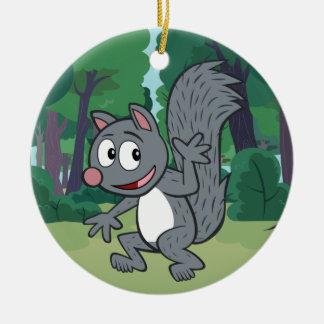 Ranger Rick | Gray Squirrel Waving Ceramic Ornament