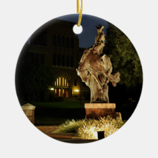 Ranger Statue at Night merchandise Round Ceramic Ornament