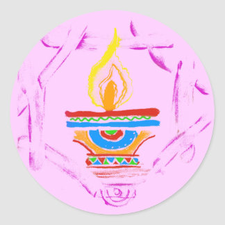 Rangoli Deepak Classic Round Sticker