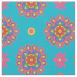 Rangoli Flowers, Polka Dots on Turquoiose Fabric