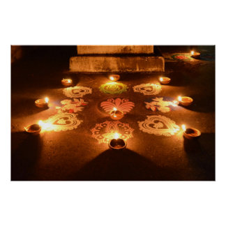Rangoli with candles in Diwali Poster