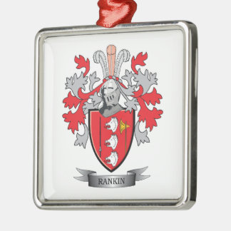 Rankin Family Crest Coat of Arms Silver-Colored Square Ornament