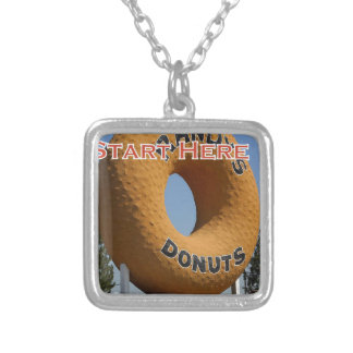 Ransdys Donuts Long Beach California LBC Silver Plated Necklace