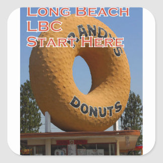 Ransdys Donuts Long Beach California LBC Square Sticker
