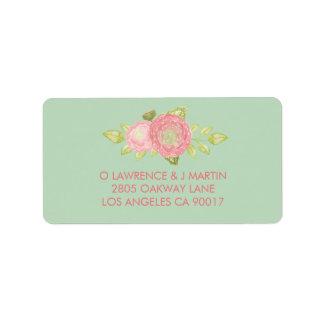 Ranunculus Floral Mint Watercolor Label