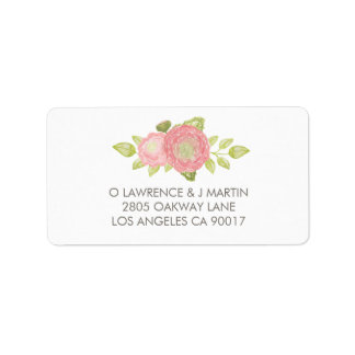 Ranunculus Floral Peach Watercolor Label