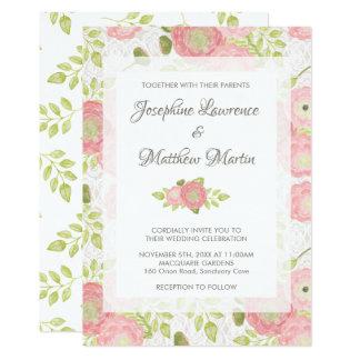 Ranunculus & Lace Peach Floral Wedding Invitations