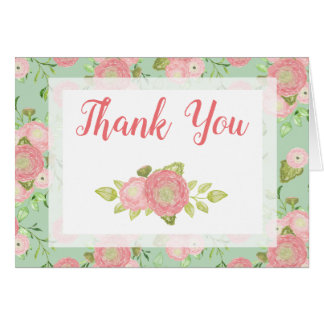 Ranunculus Mint Floral Spring Thank You Card