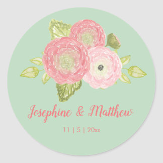 Ranunculus Mint Floral Wedding Stickers
