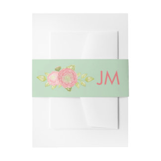 Ranunculus Monogram Floral Mint Wedding Invitation Belly Band