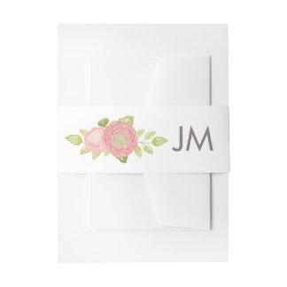 Ranunculus Monogram Floral Wedding Invitation Belly Band