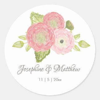 Ranunculus Peach Floral Wedding Stickers