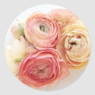 Ranunculus warm colors envelope seal round sticker