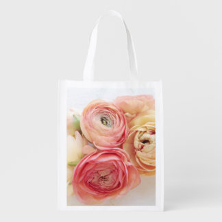 Ranunculus warm colors reusable grocery bag