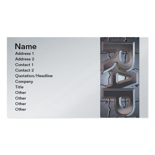 Rap, Name, Address 1, Address 2, Contact 1, Con... Business Card Template