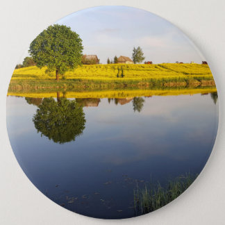 Rapeseed field 6 inch round button