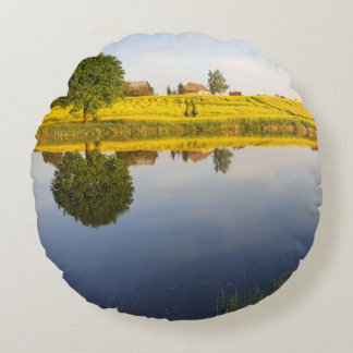Rapeseed field round pillow