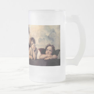 Raphael and Sistine Madonna Frosted Glass Beer Mug