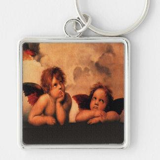 Raphael Angelic Cherub Art Silver-Colored Square Keychain
