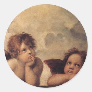 Raphael,Sistine Cherub Round Sticker