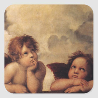 Raphael,Sistine Cherub Square Sticker