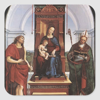 Raphael- The Madonna and Child with saints Square Stickers