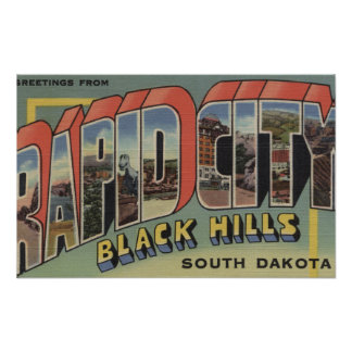 Rapid City, South Dakota - Large Letter Scenes Poster