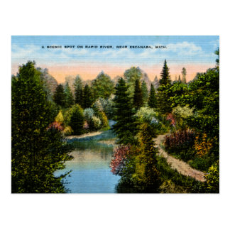 Rapid River Escanaba, Michigan Postcard