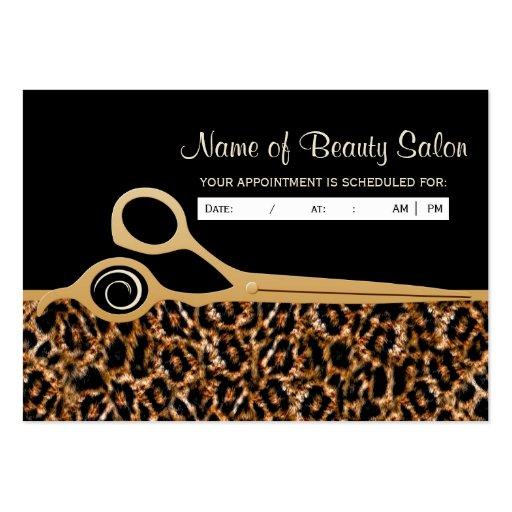 Rappel noir de rendez-vous de salon de léopard modèles de cartes de visite